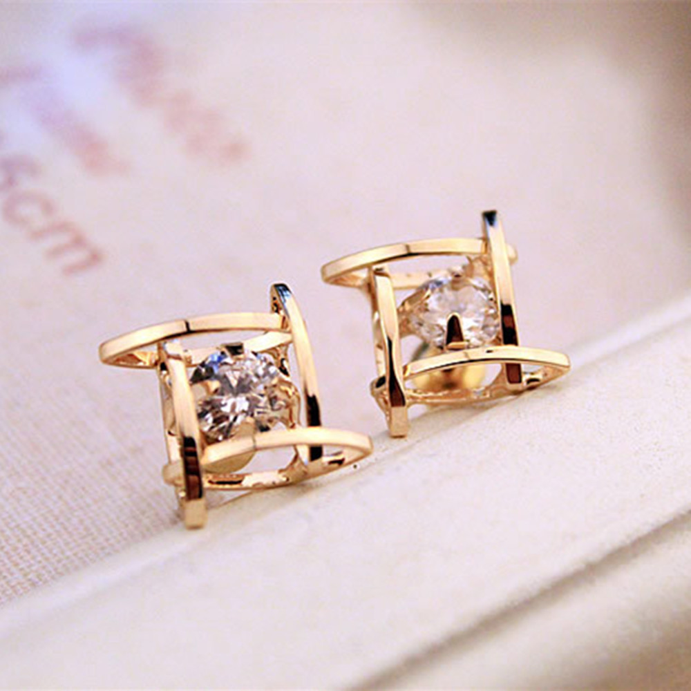 Fashion Women Girls Elegant Rhinestone Earrings Charming Full Crystals Square Ear Stud Statement Piercing Jewelry Gift