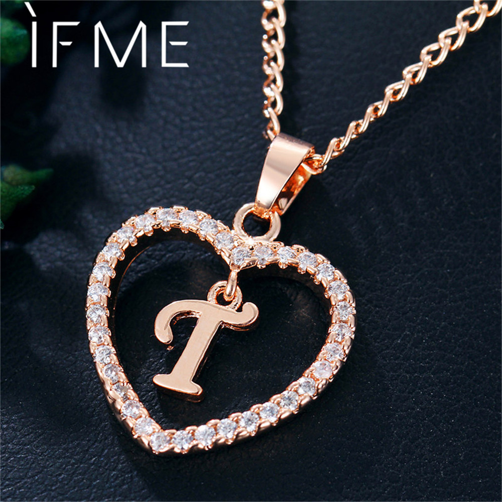 IF ME Capital Initial Letter T Heart Crystal CZ Women ...