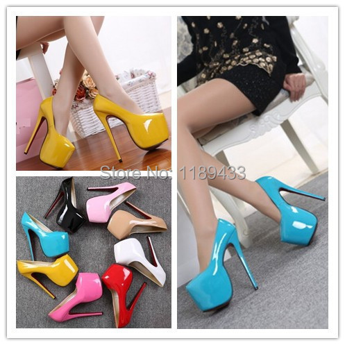 size 35 to 44 patent leather stiletto high-heeled platform pumps women stilettos 2015 sexy 18cm heel wedding dinner party shoes women real genuine leather stiletto wedges high heel shoes brand sexy fashion pumps ladies heeled shoes size 34 40 r6011