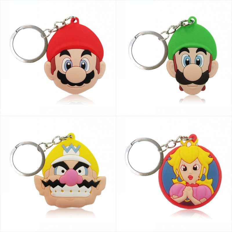 1pcs Super Mario Cartoon Figure Key Chain PVC Key Ring Kids Gift Party Favor Key Cover Holder Accessory Keychain Fashion Trinket