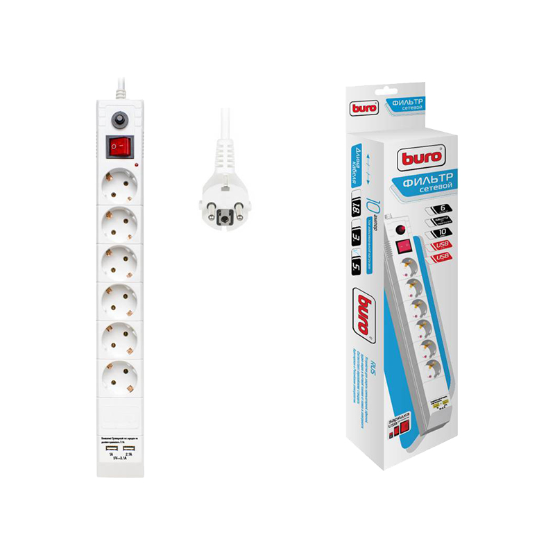 Surge Protector Buro BU-SP5_USB_2A-W Consumer Electronics Accessories & Parts Electrical Socket & Plugs Adaptors surge protector pc pet ap01006 3 bk consumer electronics accessories