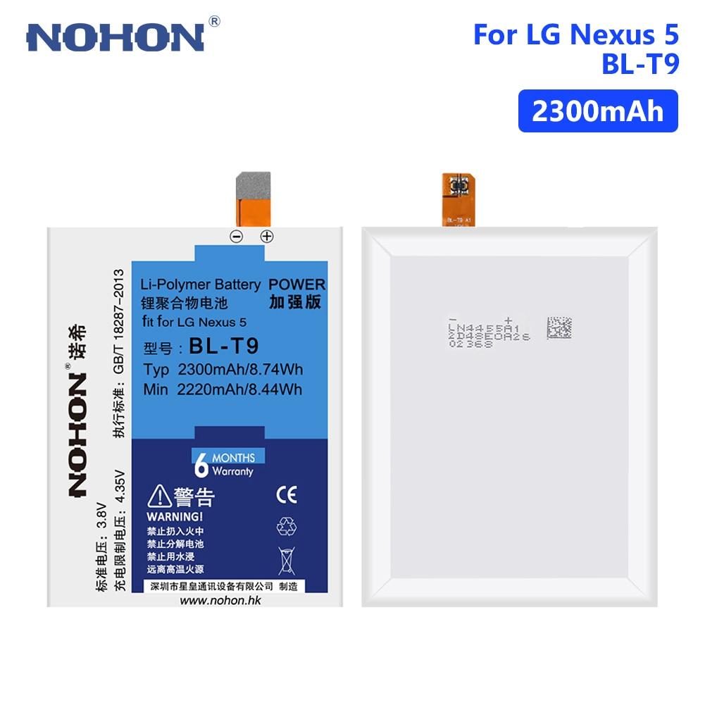NOHON LG T9 Real 2300mAh Lithium Mobile Phone Batteries Battery For LG Google Nexus 5 D820 D821 E980 BL T9 Free Tools in Mobile Phone Batteries from Cellphones Telecommunications