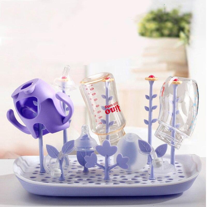 Mambobaby Newborn Baby Bottle Drying Rack PP Healthy Safe Bottle Drainer Pacifier Holder Flower Multifunctional Bottle Rack