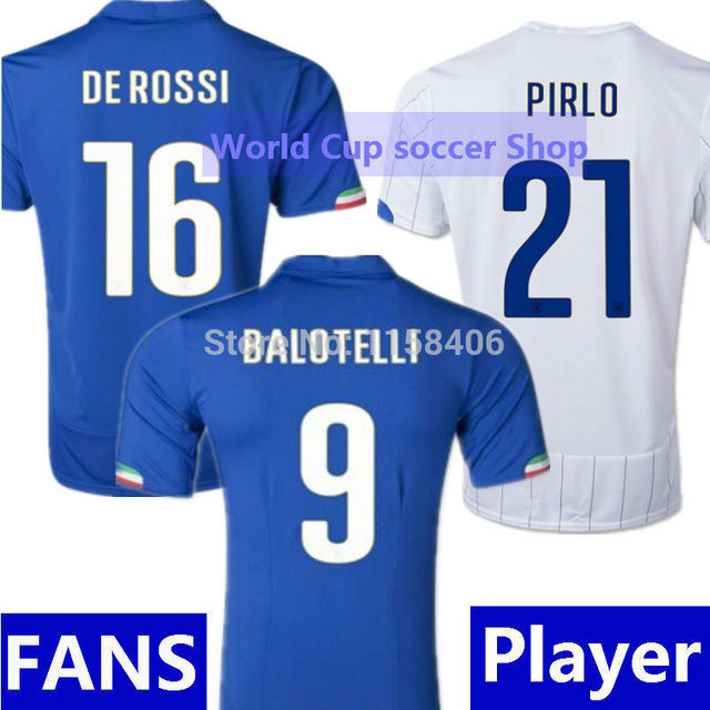 MARIO BALOTELLI Italy Jersey World Cup 2014 DE ROSSI PIRLO Italy Soccer  Jerseys Italy Home Blue Away White Italia Football Shirt d4a3a6a87