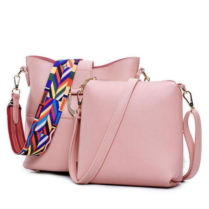 2017 Woman Bag Top Leather Handbag Fashion Ladies Composite Bag 6Color Popular Ribbon Women Shoulder Bag