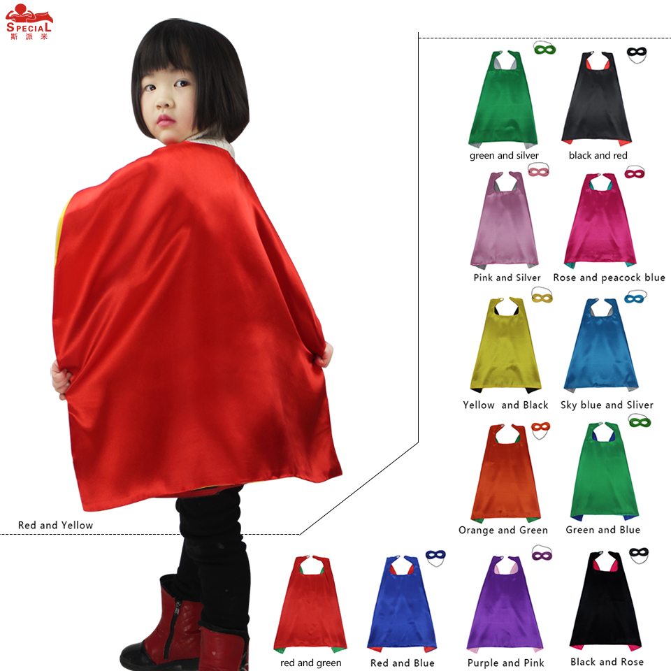 Special 70*70 cm Child Superhero Cape Mask For Birthday Party Supply Supergirl Favor Red Mask Cape Costume For Carnival Cosplay