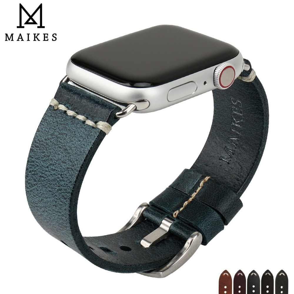 MAIKES nowy projekt skórzany pasek do zegarka dla pasek do Apple Watch 42mm 38mm/44mm 40mm seria 4 3 2 1 niebieski bransoletka pasek do zegarka