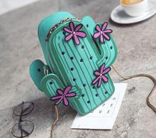 PU Bags for Women 2019 Kawaii Bag Embroidery Handbags Chain Flower Cactus Phone Wallet Crossbody Messenger Green Purse