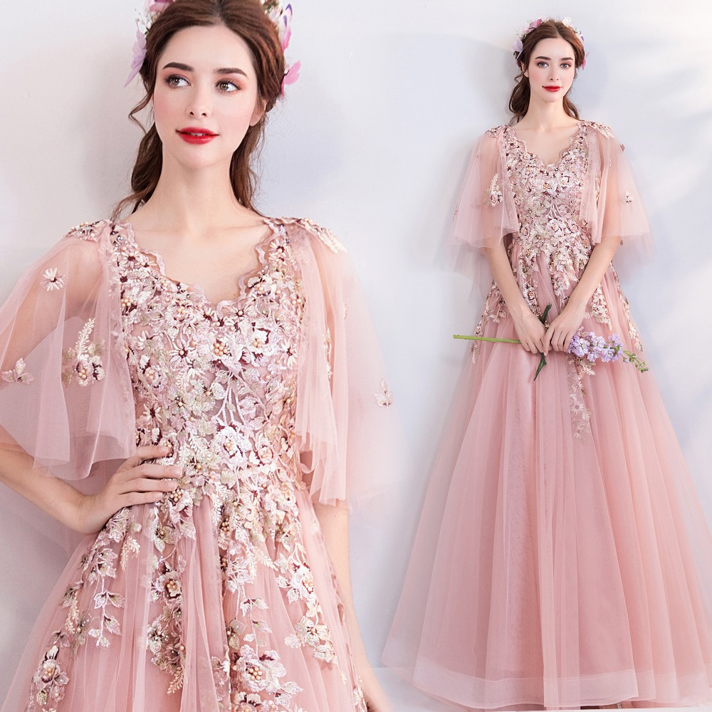 Pink Fairytale   Prom     Dresses   Long 2019 Spring Tulle Embroidery Flowers Formal   Dress   Women Occasion Party Gown Robe De Soiree