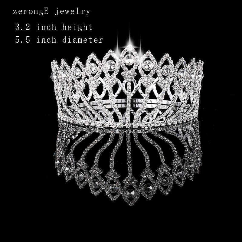 ZerongE jóias Estilo Vintage Pageant Concurso de Beleza Coroa pavão Full Circle Rodada Alto Tiara tiara e coroa de Cristal da menina