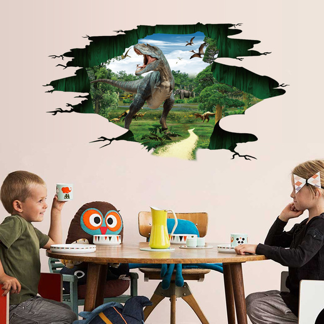 3d Dinosaur Paradise Jurassic World large wall stickers home decor bedroom  kids room diy art mural removable sticker 183b285188
