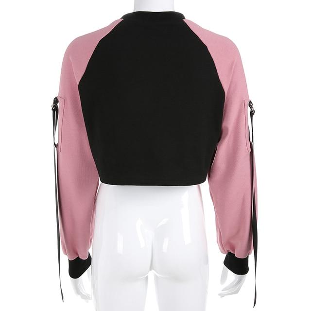 Casual Crop Hoodie in pink and black