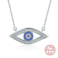 925 Sterling Silver Lucky Blue Eyes Pendant Necklaces For Women Silver Jewelry