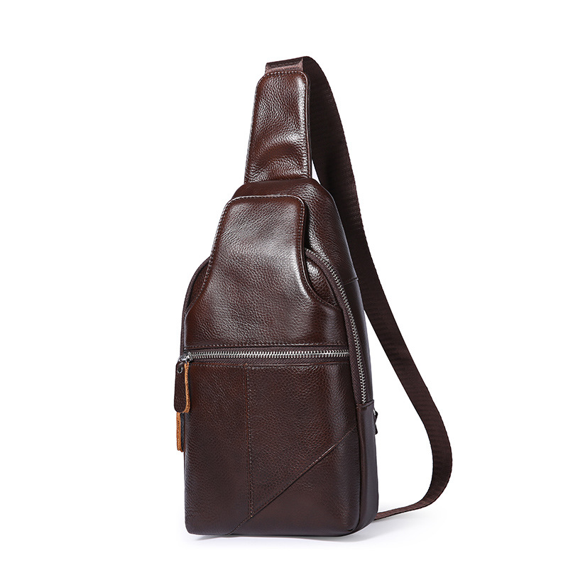 New Style Brief Men Business Chest Bag Zipper Soft Cow Leather Shoulder Bag New Travel Solid Color Fashion Messenger Bag new style messenger bag men leather top grade all match hasp fashion retro cow leather men bag solid color small shoulder bags