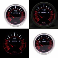 2 52mm Red LED Car Pointer Fuel Level Meter with Sensor E 1/2 F Smoke Screen Automotive Petrol Meter