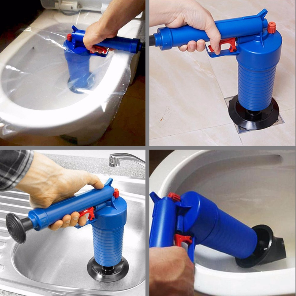 Image 4 - Air Drain Blaster High Pressure Pump Cleaner Unclogs Toilet Sewer Cleaning Brush Kitchen Bathroom Powered Plunger Remover Tool-in Drain Cleaners from Home & Garden