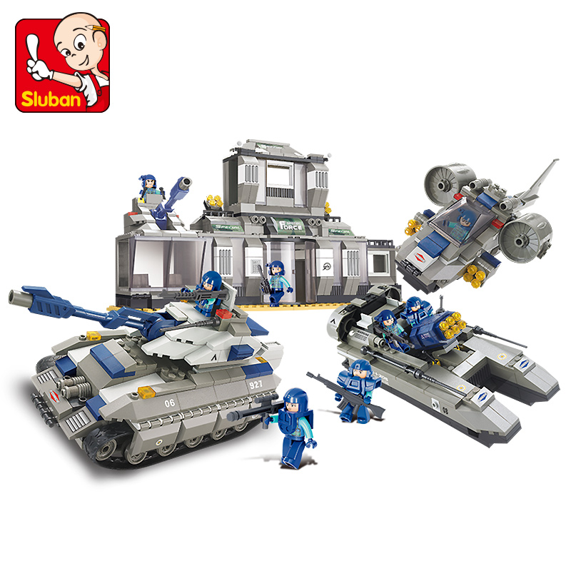 Sluban Model Building Compatible lego Lego B0211 822pcs Model Building Kits Classic Toys Hobbies SWAT Headquarters цена