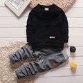 Мальчиков младенца твердые одежда набор детская спортивная куртка спортивная одежда для девочек Футболки + брюки новый год костюмы для дети