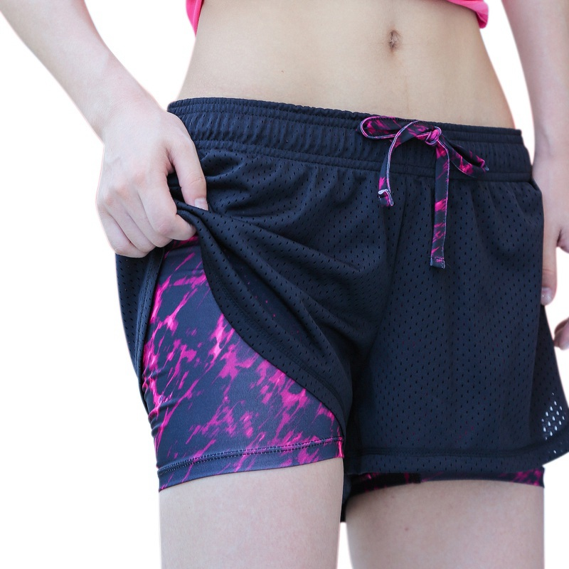 Women Mesh Quick-drying Breathable Fitness Work-out Two Layer Fitness Fold   Shorts   Newest Arrival 2018