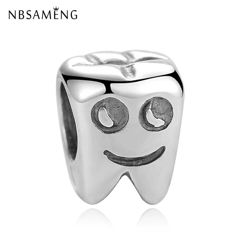 2d4d03aff Authentic 100% 925 Sterling Silver Beads Charm Cartoon Tooth Charms Smiling  Teeth Design Fit Pandora