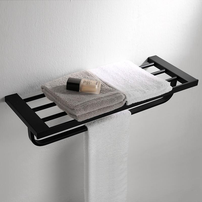 Здесь продается  304 Stainless Steel Black Towel Rack 60cm Bathroom Toilet Towel Holders Wall Mount European Bathroom Acccessories Towel Bar HY  Строительство и Недвижимость