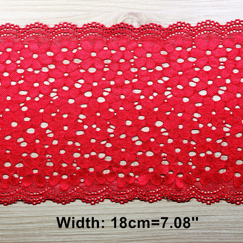 1 Yard 18cm Wide Hollow Elastic Stretch Lace Trim Underwear Clothing Accessories Sewing Lace Applique Trimmings Lace Fabrics Red in Lace from Home Garden