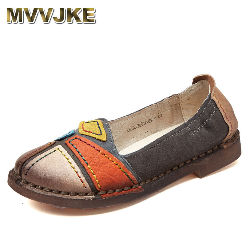 MVVJKE 2018 NEW Fashion Loafers Comfortable Women Shoes Casual Work Driving Shoes Women Flats Genuine Leather Flat Lady Shoes women s shoes 2017 summer new fashion footwear women s air network flat shoes breathable comfortable casual shoes jdt103