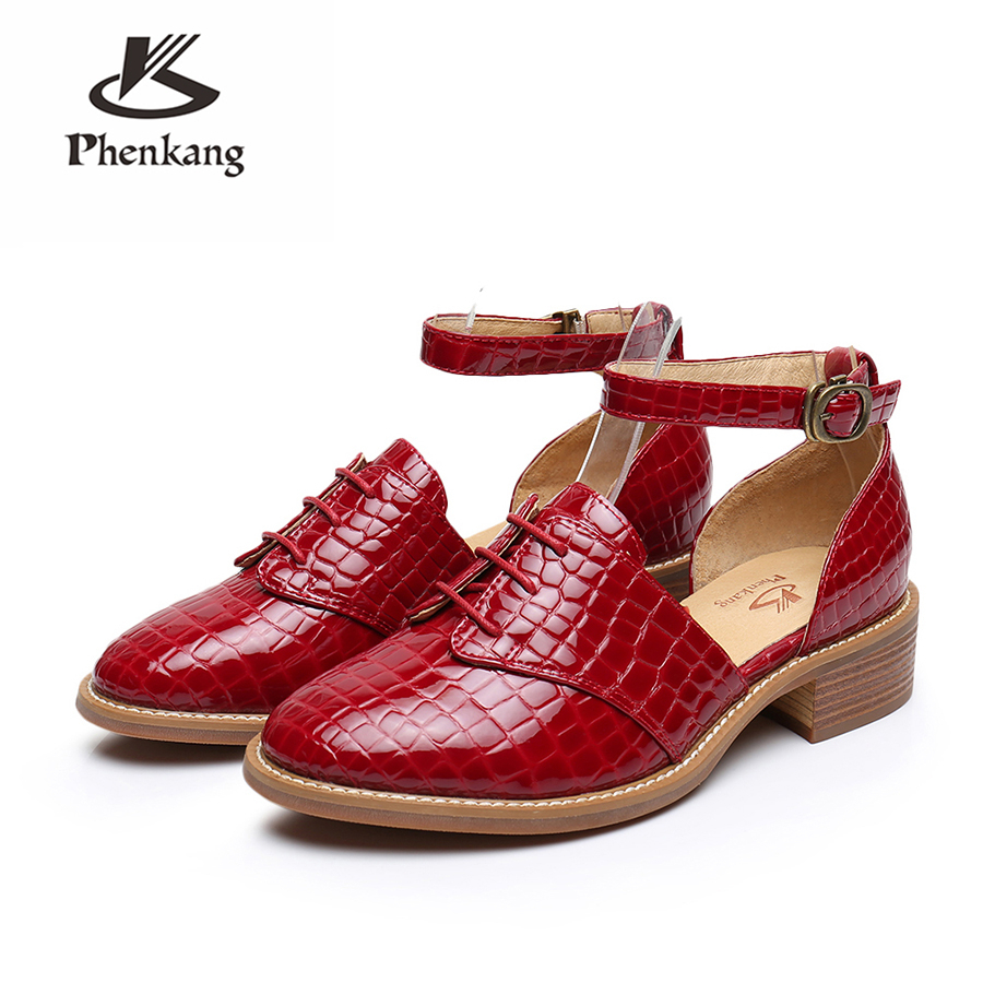 Genuine leather brogues yinzo woman Sandals flats shoes vintage handmade sneaker oxford shoes for women 2018 summer red black women natrual leather yinzo brogues flat oxford shoes woman vintage handmade sneaker oxford shoes for women 2018 red brown pink