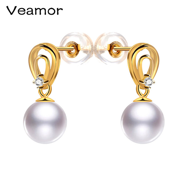Veamor 18k Pearl Earrings Freshwater Pure Yellow Gold White Pink