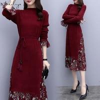 Makuluya Quality 3XL Similar 2 Pieces Women Dresses Slim Waist Long Sleeve Warm Lady Dresses Knitted Print A Line Dresses QW80