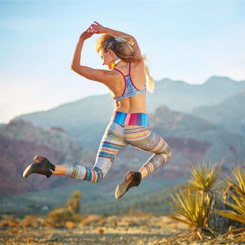 Retro color rush yoga pants for women high waist stripe print yoga leggings workout athletic outfit fitness gym sport leggings