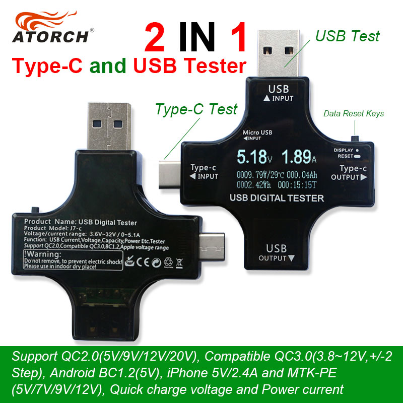 ATORCH Type-C pd USB tester DC Digital voltmeter amperimetro voltagecurrent meter ammeter detector power bank charger indicator