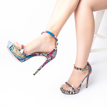 Women Sexy Snake Print High Heel Sandals Women Summer Shoes Thin Heels Shoes Woman Sandals Open Pointed Toe Ladies Sandals S3 все цены
