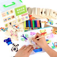 Free Shipping Kids Drawing Toys Set Paint Learning Notebook Coloring Notebook Toy Baby Wooden Toys