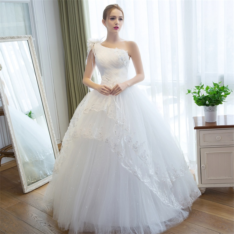 LAN TING BRIDE Ball Gown One Shoulder Floor Length Satin Tulle Custom Wedding Dresses with Appliques Lace Flower