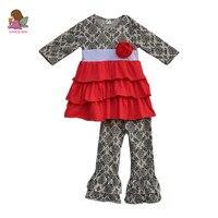 Peuter meisjes lente boutique kleding bloem tuniek jurk en broek kids outfits 2 stuk ruche kinderkleding sets F128