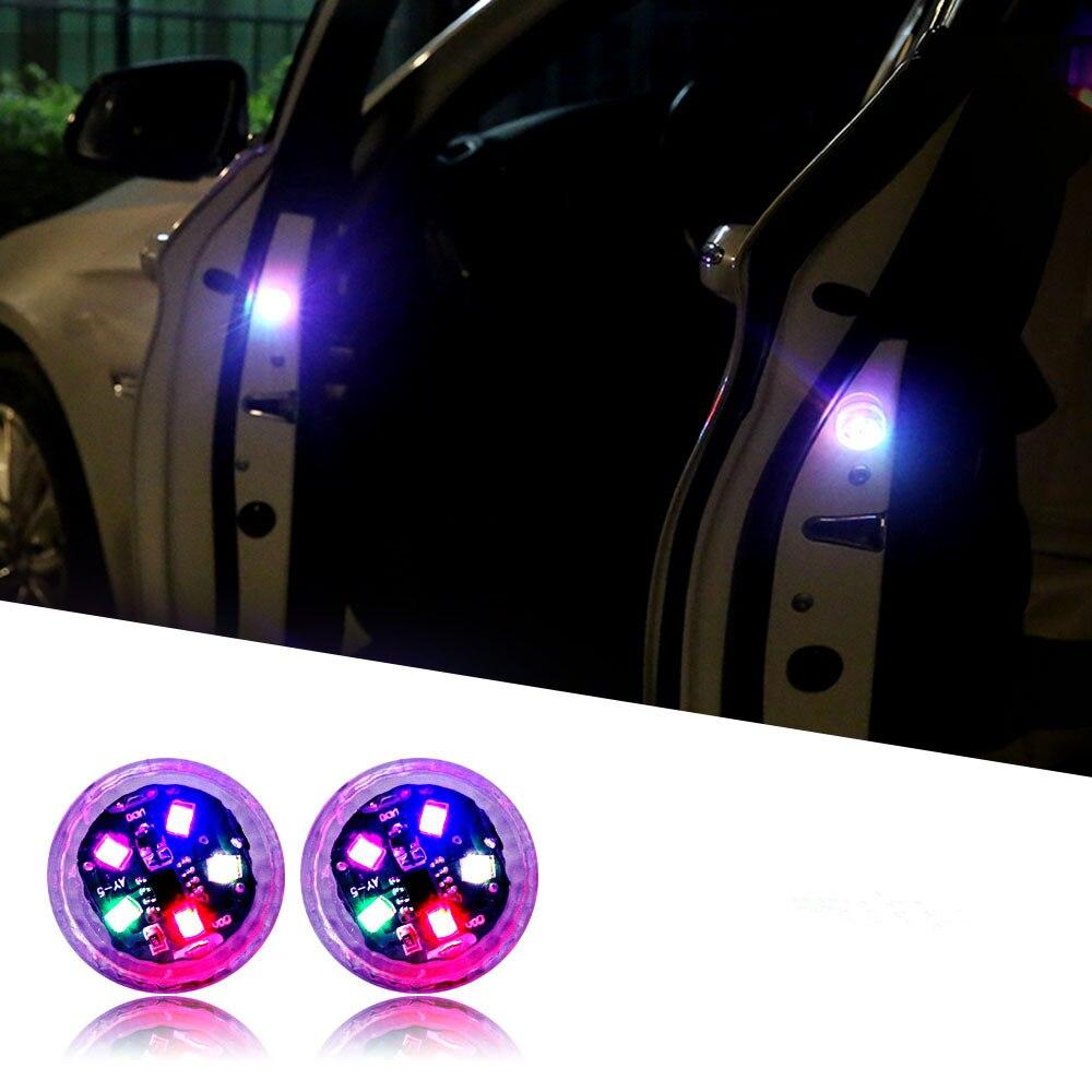 2pcs Universal Car LED Opening Door Safety Warning Light Wireless Magnetic Strobe Flashing Light Anti Rear-end Collision Lamp