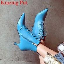 Zapatos de invierno de punta puntiaguda con cremallera para mujer, calzado de Botines de Cuero de vaca, estilo extraño, tacones altos sólidos para club nocturno, oficina, L93, 2021