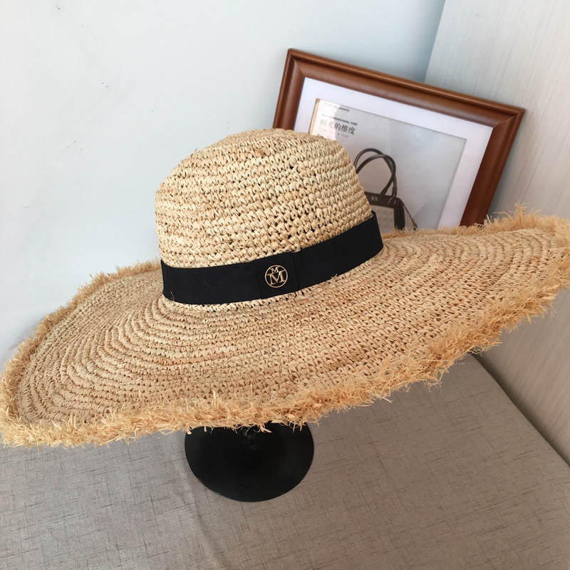 Han edition lafite grass beach hat female summer beach sun hat M wide brim holiday travel is the bowknot straw hat dg0091 rounding top hat beach hat coffee