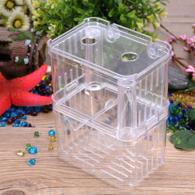 1pcs Plastic Transpa Aquarium Self Floating Isolation Box Incubator Nursery Fish Fry Hatchery Tank