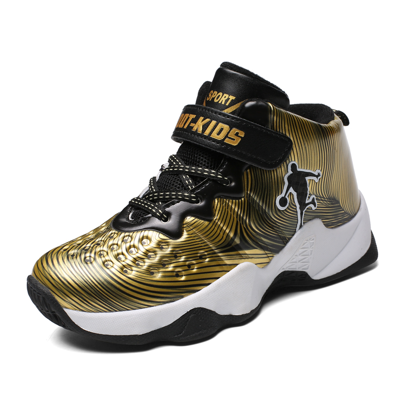 2018 New PU Basketball Shoes for Kids Boys Sport Shoes Children's Outdoor Sneakers Trainers for Pupils Students Gold Color