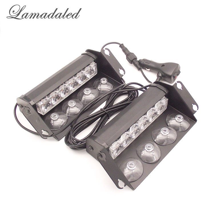 цена на Lamadaled 2x6 led Police strobe lights vehicle flashing shovel light car dash board led emergency lights RED BLUE WHITE AMBER