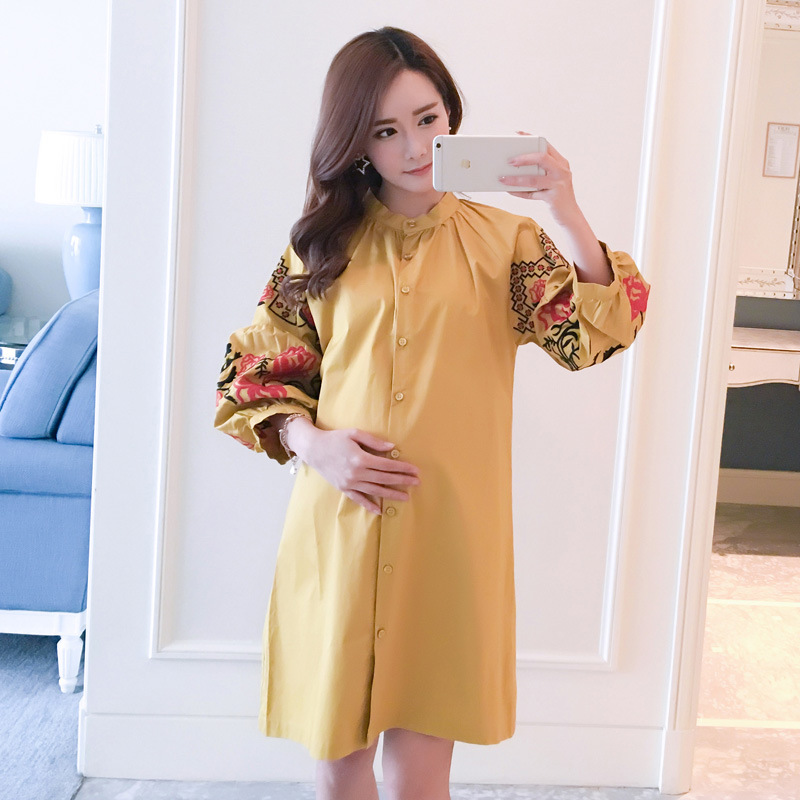 Casual Pregnancy Shirts Pregnant Women Clothing Spring Autumn New Lantern Sleeve Printing Maternity Dress Long Shirt Loose