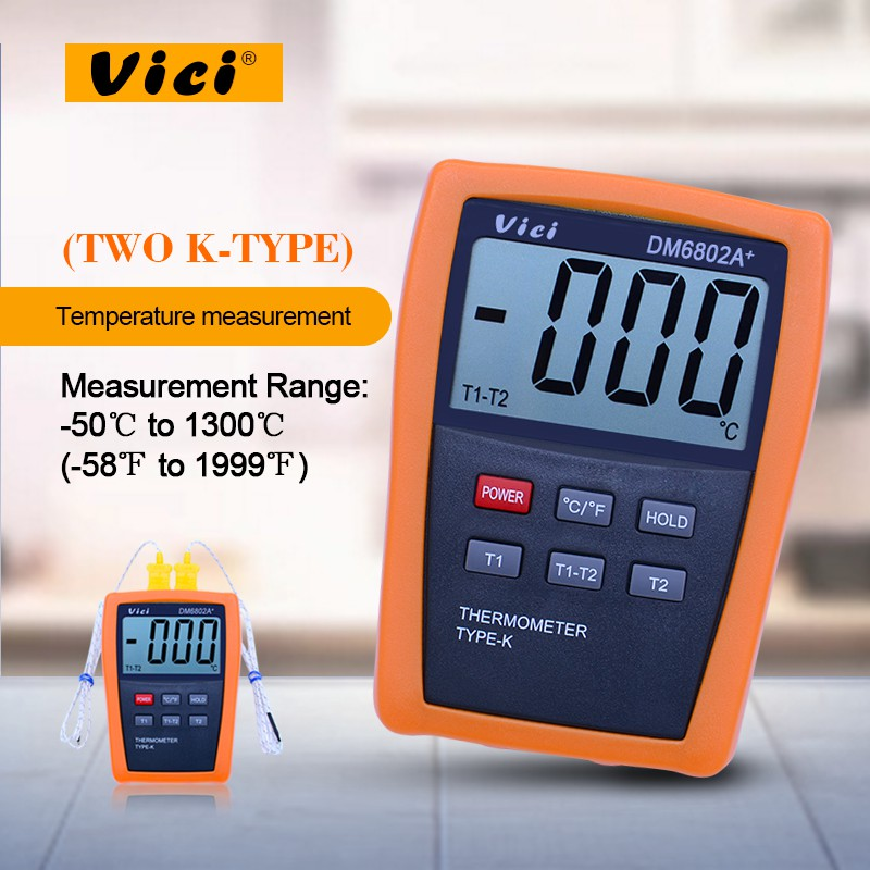 LCD Digital Thermometer Temperature Meter w/Two K-Type Thermocouple Probes Measuring -50-1300 Degree VICI DM6802A+ az8803 digital thermocouple thermometer with temperature range 50 1300 degree