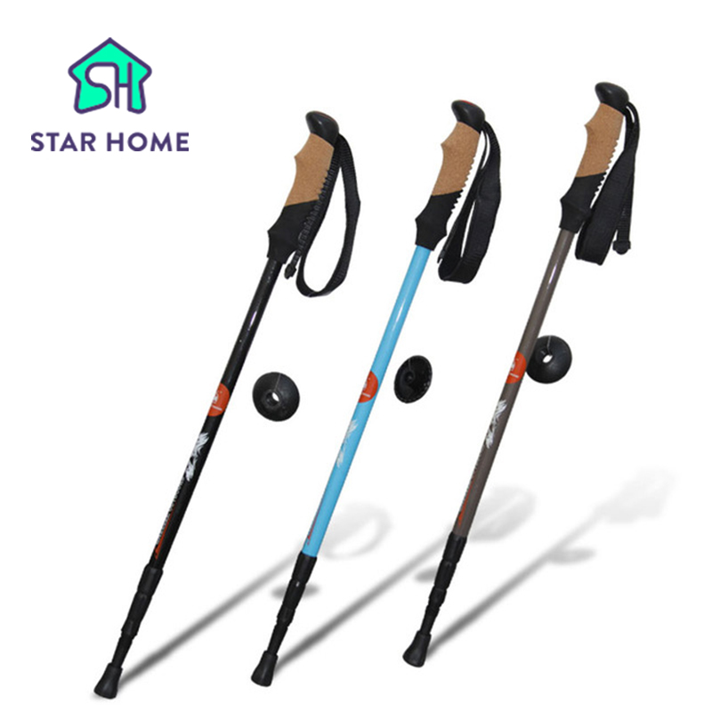 ФОТО Star Home Ultra light Cork Handle Good Aluminum Climbing Equipment Trekking Poles Nordic Walking Stick Telescopic Hiking Stick