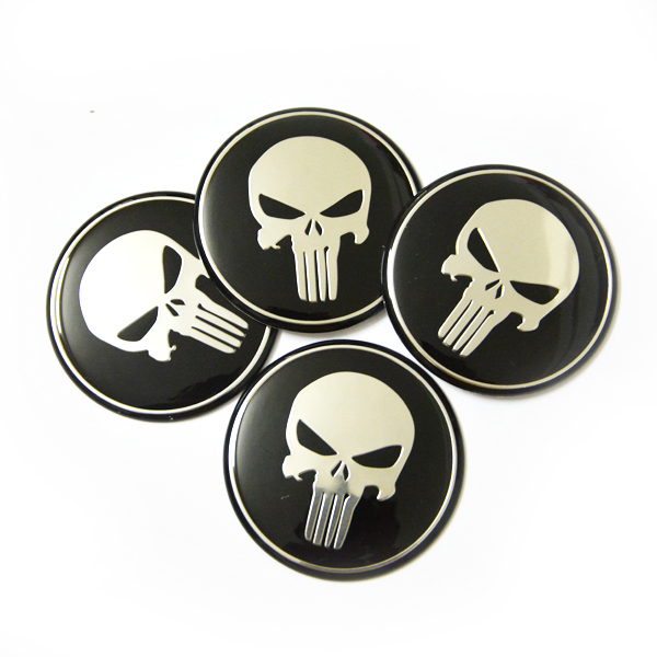 Cool Punisher Car Steering tire Wheel Center car sticker Hub Cap Emblem Badge Decals Symbol For Honda VW Audi BMW Nissan Ford