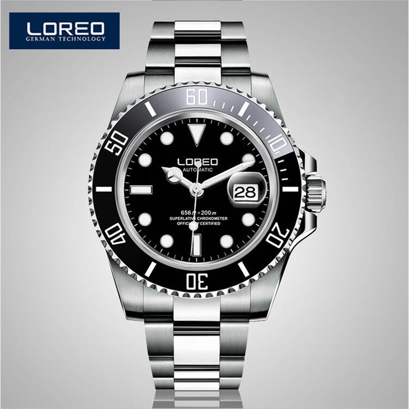 купить LOREO Reloj Hombre Luminous Relogio 200M Waterproof Watch Men Mechanical Steel Wristwatch Father'S Gift Box Xmas Gift AB2286 по цене 5738.31 рублей
