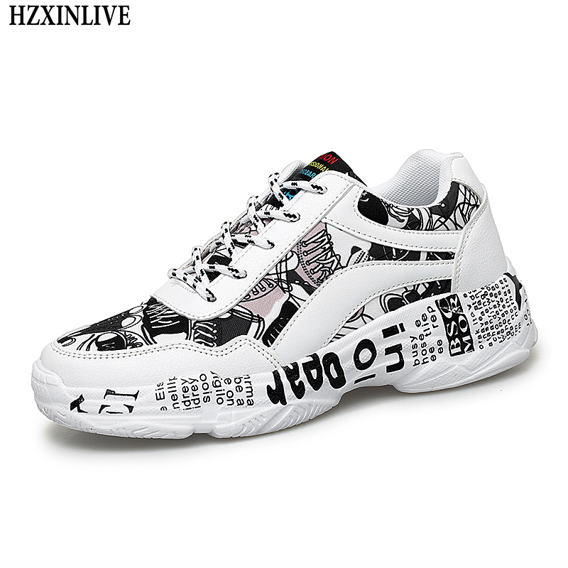 HZXINLIVE Winter Woman Casual Shoes White Sneakers Flat Bottom Ladies V