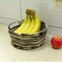 Corn Husk Iron Wicker Drink Food Fruit Basket cesto ropa sucia decorative storage wicker baskets for toys Sundries piknik sepeti