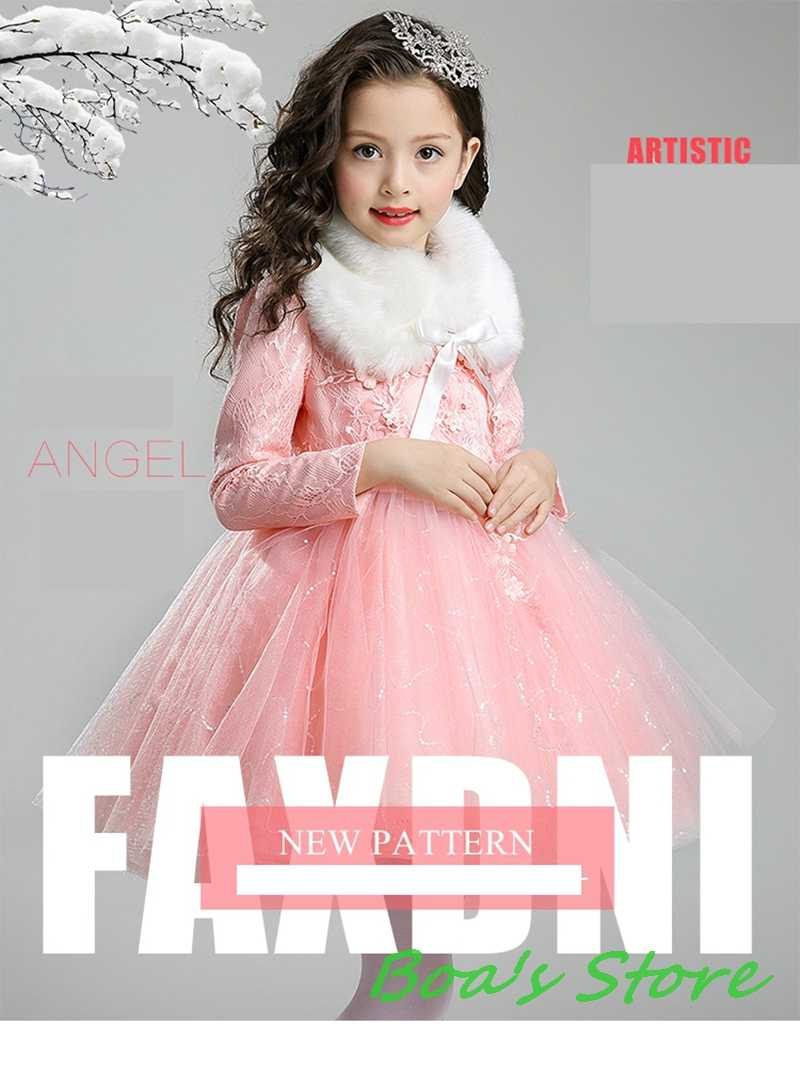 fbaa71ba025ac ... Baby Girls Red Pink Blue Long Sleeve Full Dress Ball Gown Flower Party  Wedding Special Princess